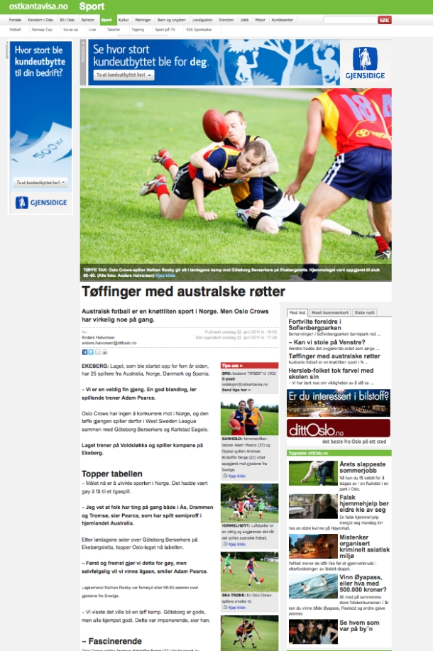 Oslo Crows Australsk Fotball AFL Norge